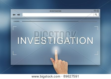 hand press on investigation button on webpage poster