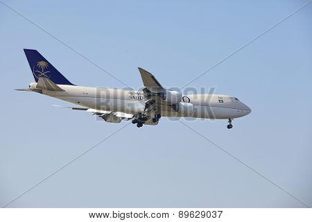 Frankfurt Airport - Cargo Aircraft Of Saudia Cargo On Final Approach