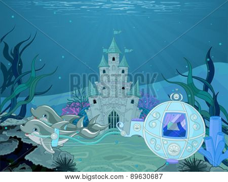 Illustration of fairytale dolphin carriage on ocean background with castle