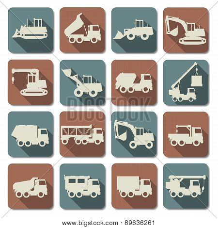 Vector Construction Machines Flat Icons