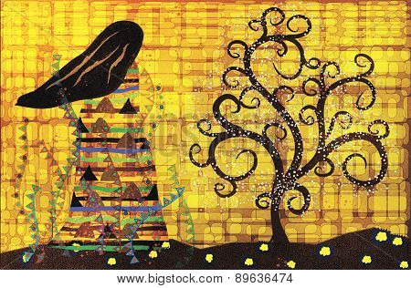 Abstract Illustration In The Style Of Gustav Klimt