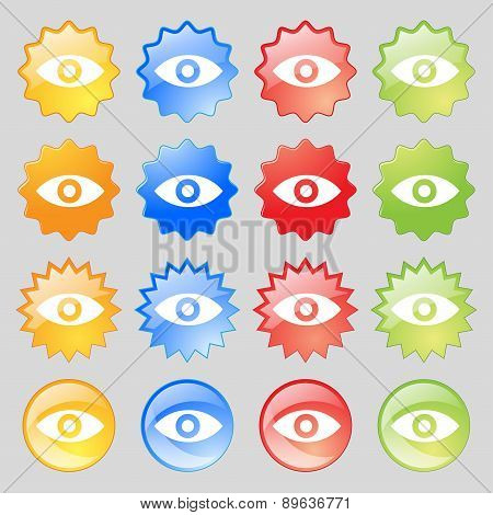 Eye, Publish Content, Sixth Sense, Intuition Icon Sign. Big Set Of 16 Colorful Modern Buttons For Yo
