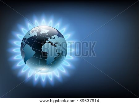 Planet Earth In The Blue Flame Of A Gas Burner