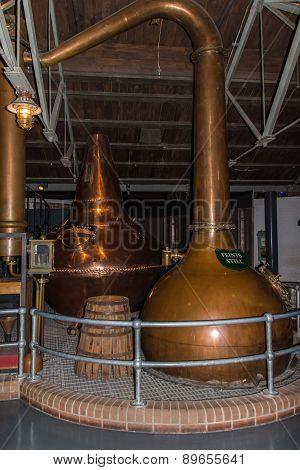 Dublin, Ireland - March 21, 2015: Feints still pot to create whiskey at Old Jameson Distillery in Dublin