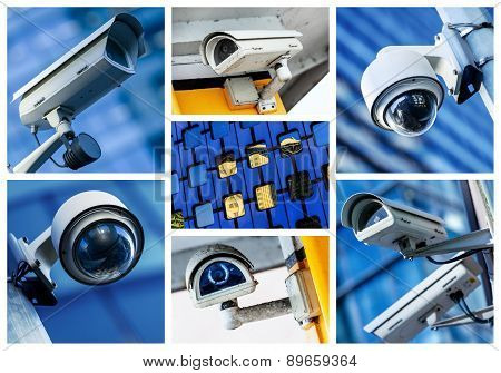 Collage Of Security Camera And Urban Video
