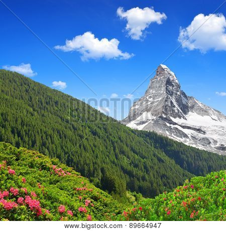 Matterhorn is a mountain in the Pennine Alps on the border between Switzerland and Italy
