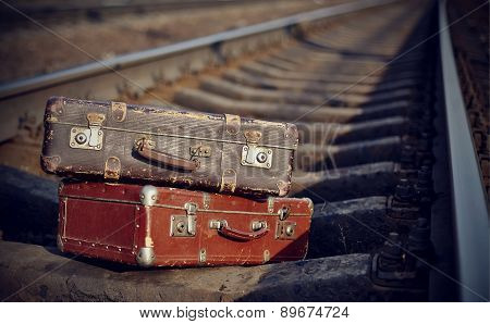 Old Suitcases On Rails