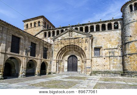 The Colegiata a famous religious building in Santillana del Mar a historic town in Cantabria Spain. poster