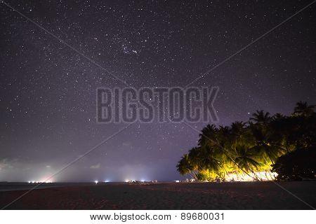 Night Scene beautiful sea and clouds illuminated by the stars