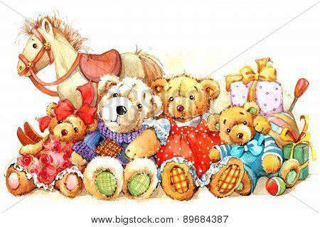 Teddy Bear. Toy background for kids Birthday