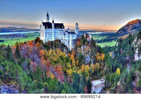 Castle Of Neuschwanstein Near Munich In Germany On An Autumn Day