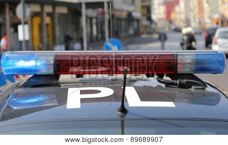 Flashing Sirens Of Police Car During The Roadblock In The City