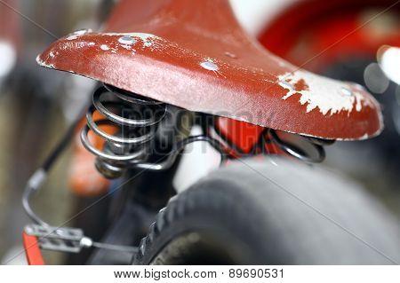 Color shot of a vintage motorcycle shock absorber. poster