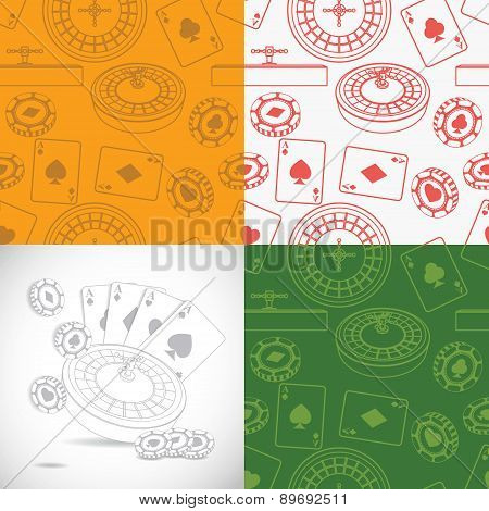 Seamless casino patterns set