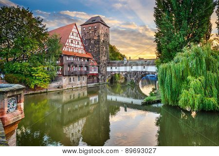Nuremberg, Germany at Hangman's Bridge over the Pegnitz River.