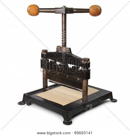 old paper press isolated in white background poster