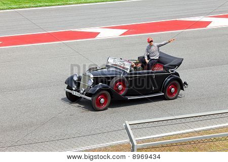 BARCELONA- MAY 9: Jenson Button of McLaren-Mercedes on parade of pilots before a stage of race the F