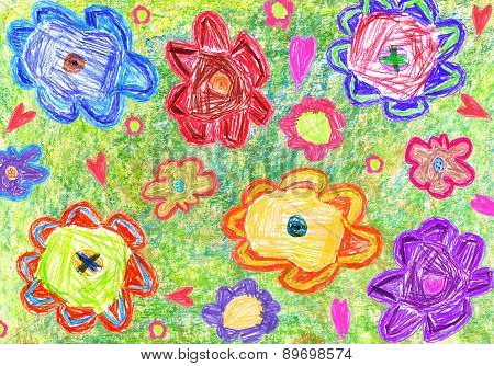 Colorful Child's Drawing Of Flowers