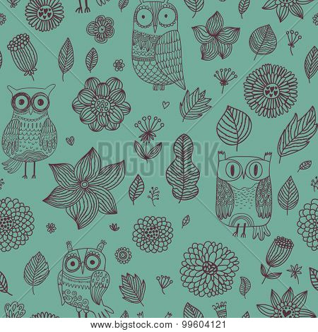 Romantic floral seamless pattern with cute owls and vintage flowers in stylish green. Vector spring background can be used for wallpapers, pattern fills, web page backgrounds, surface textures.