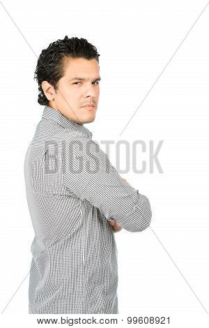 Angry Disappointed Latino Man Back Turned Half V