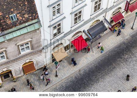 Aerial Of Crowded Stephansplatz In Vienna