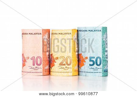 Close Up Of Rolled Up Malaysia Ringgit Currency Note