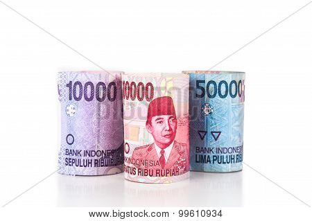 Close Up Of Rolled Up Indonesia Rupiah Currency Note