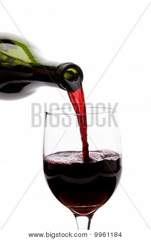 Pouring An Elegant Red Wine Into A Glass