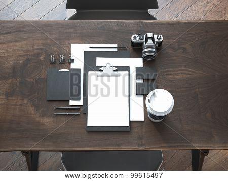 Black branding mockup on the luxury wooden table. 3d rendering poster
