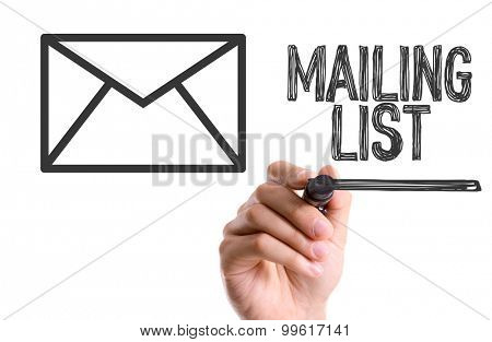 Hand with marker writing the word Mailing List
