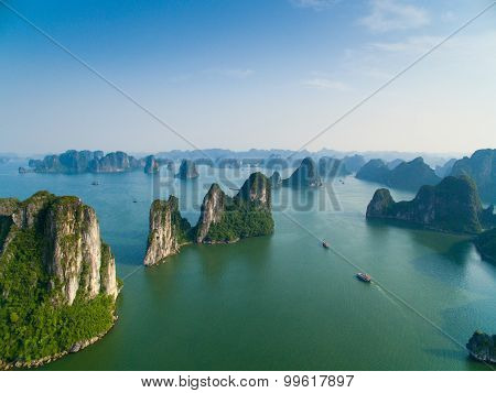 Beautiful seascape from high view in Halong bay, UNESCO World Natural Heritage site poster