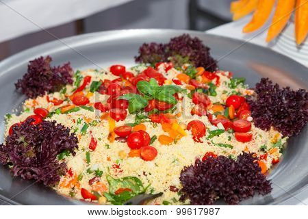 party outdoors, tasty appetizer, cous cous with vegetables