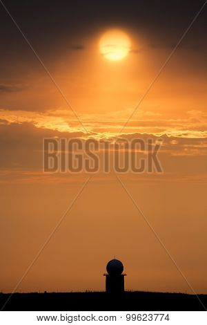 Sunset Orange Sillouette and Doplar Radar Canada