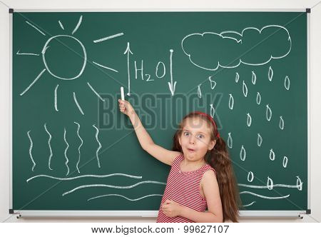 girl draw water circulation scheme on board