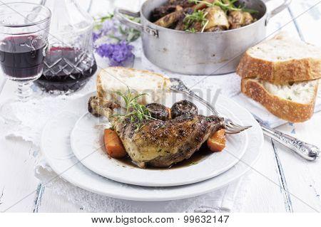 french chicken in red wine sauce - coq au vin