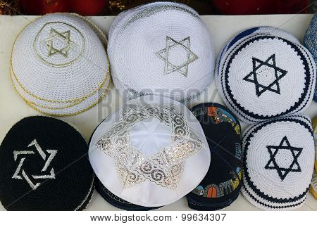 Festive Knitted Jewish Religious Caps (yarmulke)