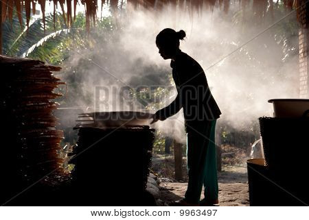 Rice Paper Factory Worker