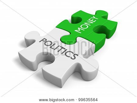 Politics and money puzzle pieces representing the corruption of wealth in elections