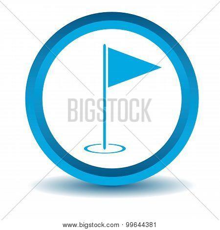 Golf flagstick icon, blue, 3D
