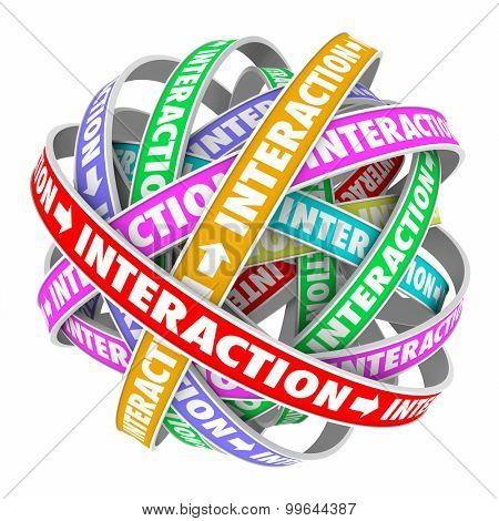 Interaction word on spiral ribbon in sphere to illustrate a cycle of communication, discussion, engagement or interactivity with customers or audience