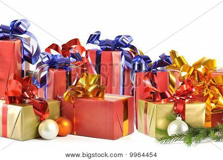 Christmas Gift And Baubles Isolated On White Background