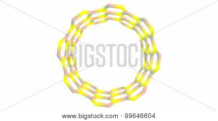 Boron nitride nanotube structure isolated on white background. 3d illustration