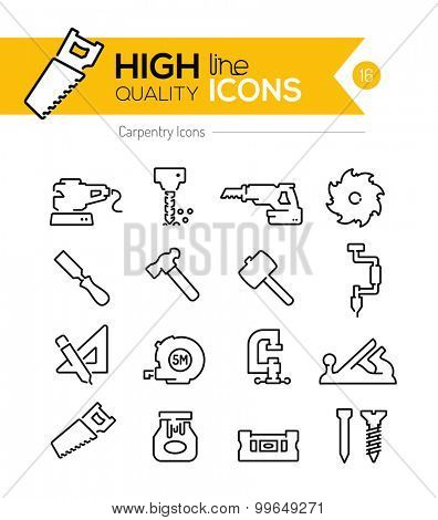 Carpentry Line Icons Series
