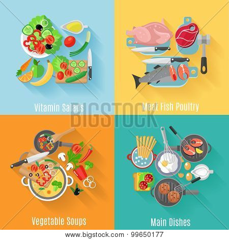 Home cooking 4 flat icons square banner