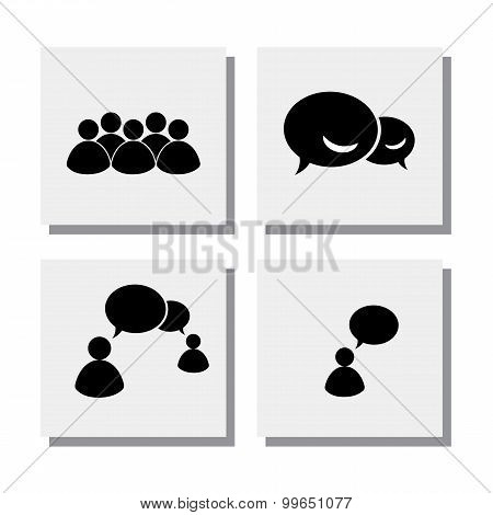 Set Of People Talk Discuss Meet - Vector Icons