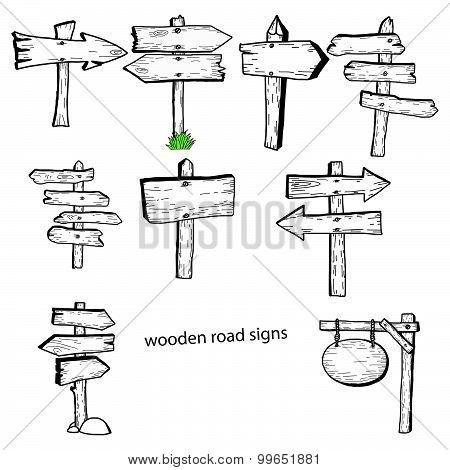 Illustration Vector Doodles Hand Drawn Wooden Road Signs Collection