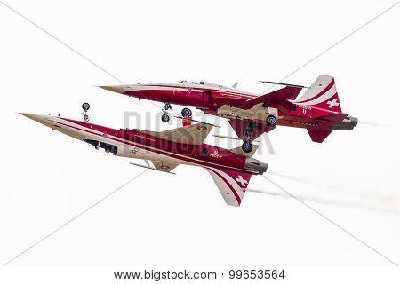 Radom, Poland - August 22: Patrouille Suisse (switzerland) Aerobatic Display Team During Air Show Ra