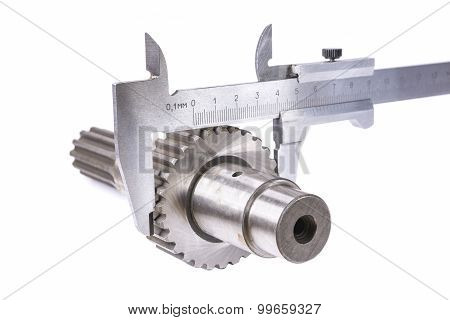 measurement of diameter of gear part of a shaft measuring device poster