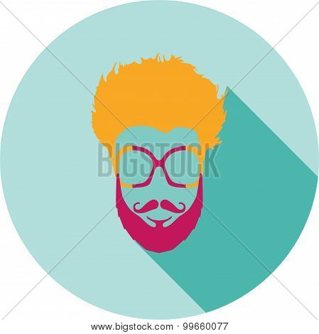 Super hero mask glasses, beard, hair. Flat style avatar icon