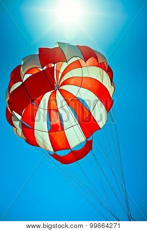 Open Parachute In The Blue Sky